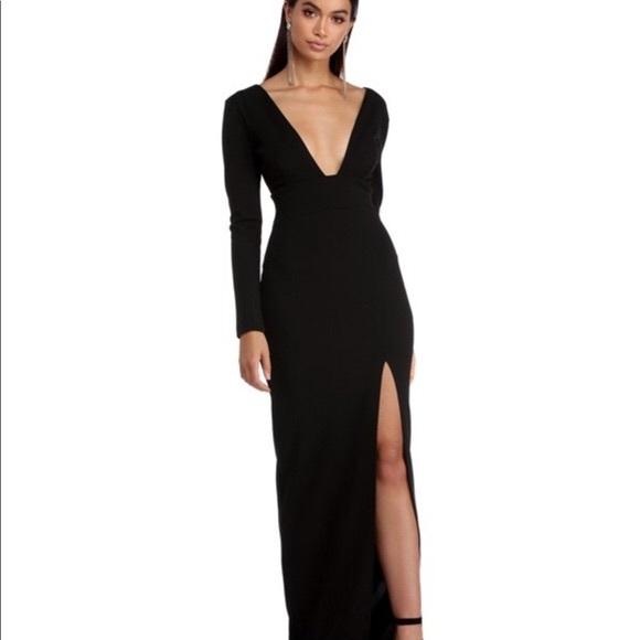 65a88b135e59 Long back deep v dress